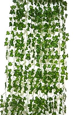 Lanldc Artificial Hanging Plant Silk English Ivy Vine Garland Arrangement Faux Fake Flower Green Leaves Wreath Home Kitchen Garden Decor ,12 Strands Ivy, 80 Feet