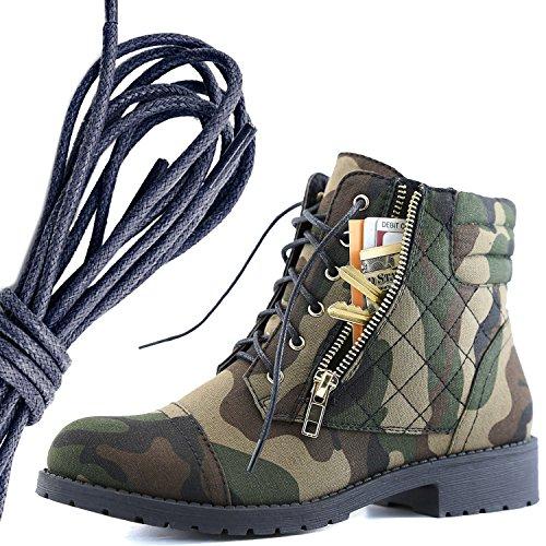 Dailyshoes Donna Militare Allacciatura Fibbia Stivali Da Combattimento Caviglia Alta Esclusiva Tasca Per Carte Di Credito, Camouflage Cv Navy