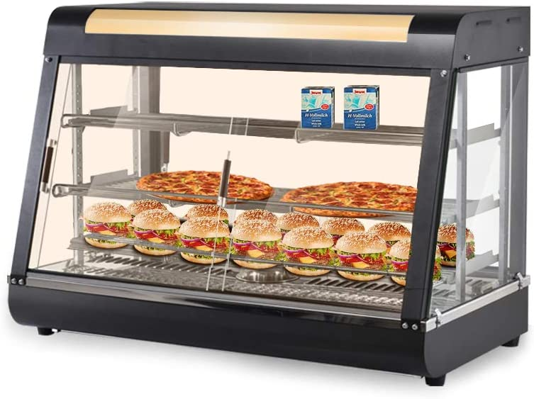 Minocool 35'' Food Warmer Display, Three-layer Commercial Food Warmer Countertop Heated Food Case Cabinet with LED Warm Light, for Restaurant Cake Empanda Buffet Hamburger Pizza