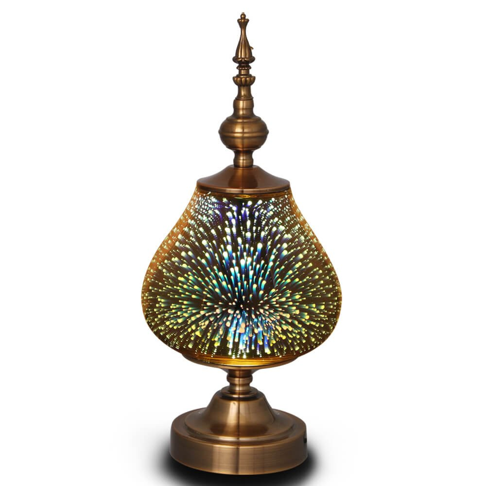MELLER Table Lamp, Turkish Light,Arabian Lamps with Handmade 3D Effect Glass and Bronze Base - Perfect for Table in Bedroom,Bedside,Living Room,Office
