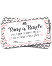 50 Diaper Raffle Tickets Pink Elephant Theme -Girl Chevron Baby Shower Game Activity