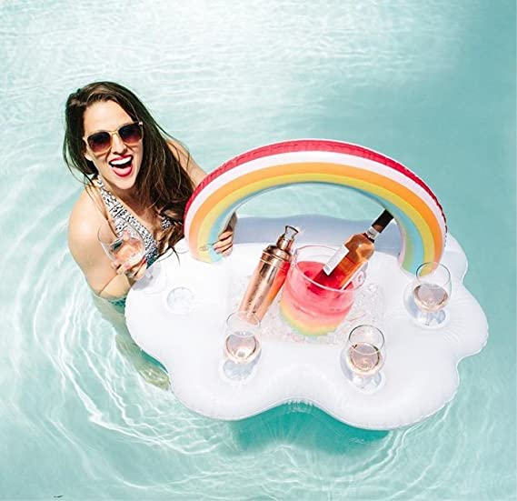 Lady of Luck Titular de Bebida Inflable, Nubes Inflables Rainbow Posavasos Rectangular Ice Bar para Fiesta de Piscina Adultos y Niño: Amazon.es: Juguetes y ...