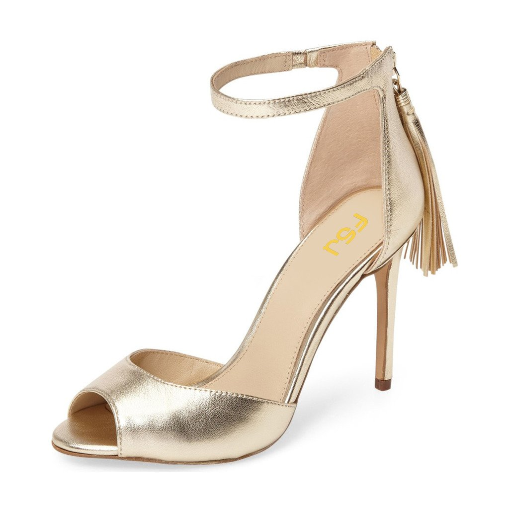 FSJ Women Peep Toe Ankle Strap Heels Sandals Stiletto Chic Fringed Party D'Orsay Shoes Size 9.5 Gold