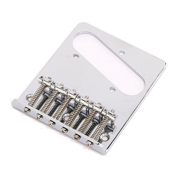 Musiclily Vintage T-Style Telecaster Puente con 6 Silletas para Guitarra Tele estilo de 6 cuerdas, Cromo: Amazon.es: Instrumentos musicales