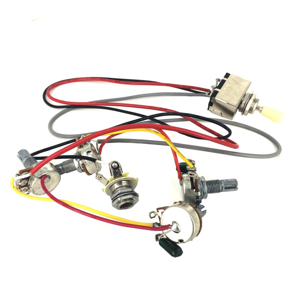 Greenten Wiring Harness Prewired 2V2T 3-Way Toggle Switch 500k Pots Jack for Gibson LP Guitar Replacement