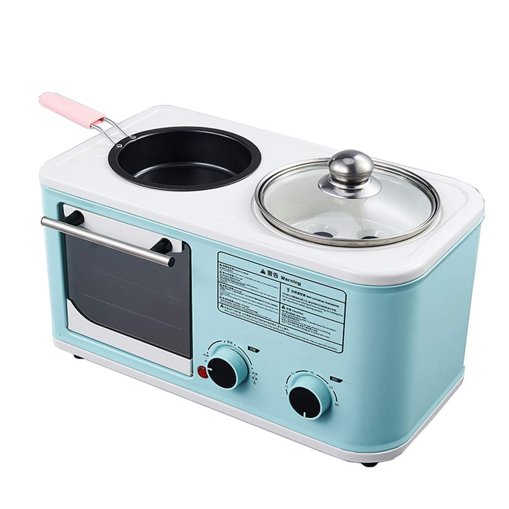 JINJN Retro Multi-Function Automatic Breakfast Station(Mini Toaster Oven, 1l Cooking Pot, 15cm Diameter Non-Stick Frying Pan)