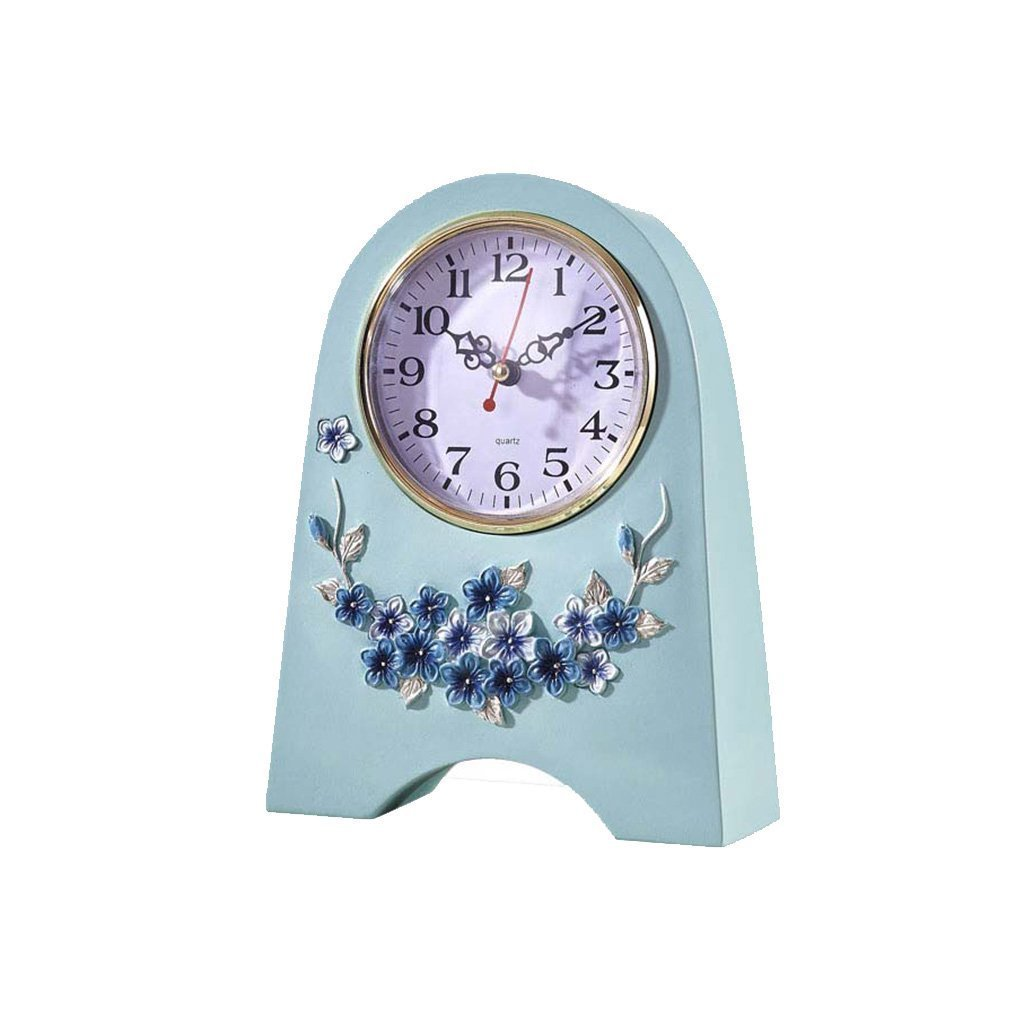 Health UK Clock- Clock Blue Resin Carved Eco-Friendly Pastoral Single-Sided Desktop Clock Romantic Mute Classical Sitting Bell Welcome