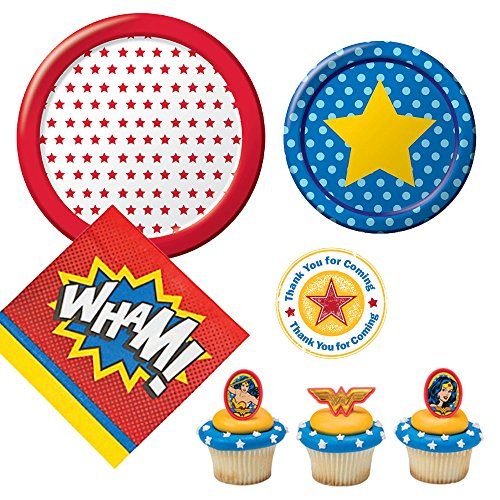 Wonder Woman theme Party Supplies for 10 guests - small and large plates, napkins, cupcake rings, (Wonder Woman Party)