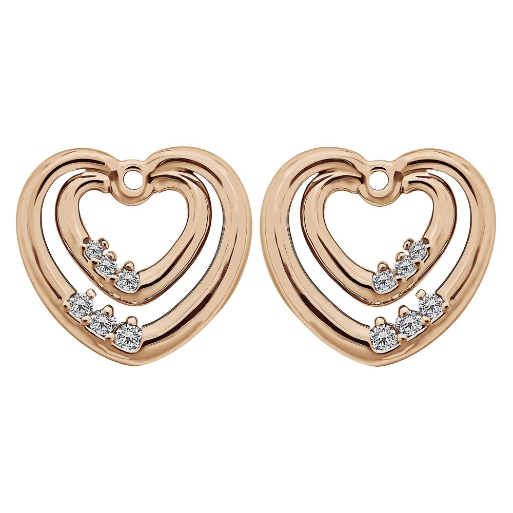 1/5 ct. Charles Colvard Created Moissanite Moissanite Heart Shaped Earring Jackets in Rose Gold Plated Sterling Silver (0.19 ct. twt.)
