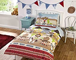 KIDS COWBOYS AND HORSES BROWN RED TWIN COTTON BLEND COMFORTER COVER SET