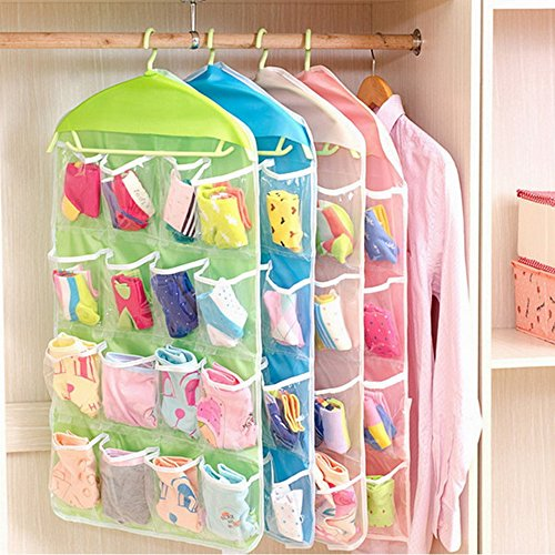 Life Plus Clear Pocket Organizer for Accessories Socks/Underwear/Makeup/Jewelry Storage, 16 Pockets in 4 Colors, Hanger not (Plus Life)