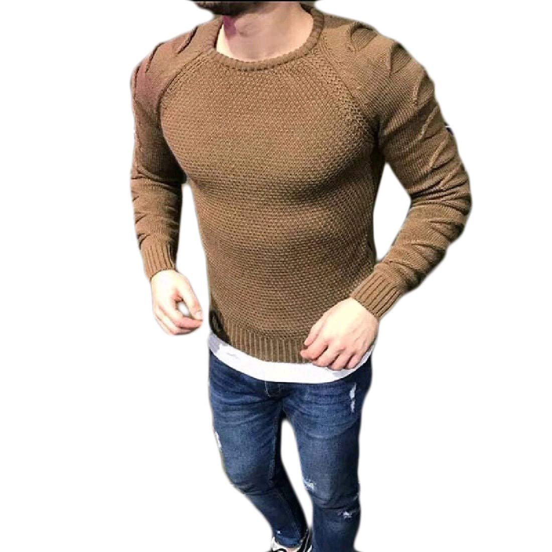 YUNY Mens Fashion Silm Fit Plus Size Knitting Top Tee Sweater Khaki L