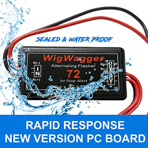 Stop-Alert WigWagger 72 LED Electronic Wig Wag Alternating Flasher Relay - Powerful & Waterproof Best for Police, Ambulance, Emergency - Universal Controller LED - Incandescent Compatible - 12-24V