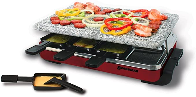 Swissmar KF-77045 Classic 8 Person Raclette – The Raclette Grill with Detachable Granite Stone Surface