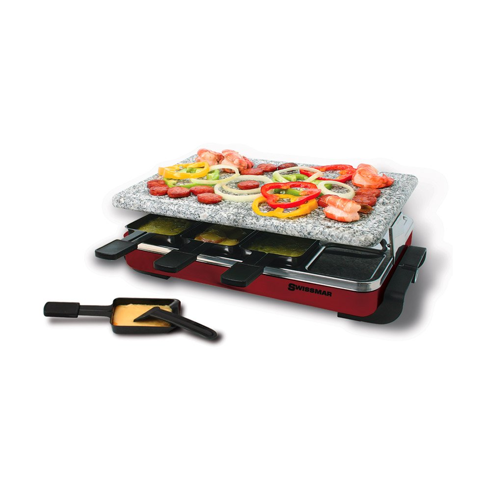Swissmar KF-77045 Classic 8 Person Raclette with Granite Stone Grill Top, Red