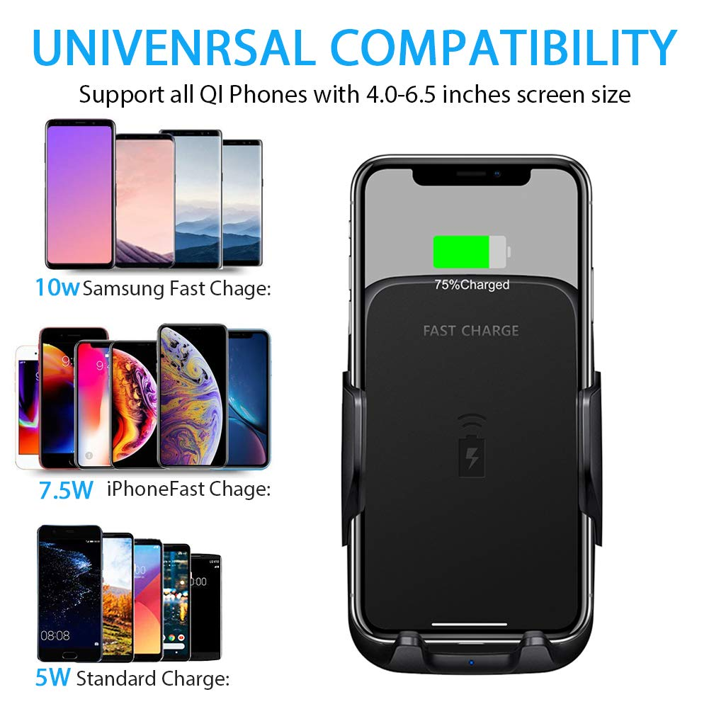 Car Wireless Charger 10W Fast Wireless Charger for Car Cup Holder and Air Vent Mount Compatible with Qi Smartphone for iPhone Samsung Galaxy (Black)