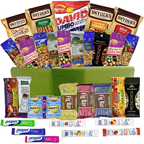 Healthy Snacks Gift Basket Care Package - 32 Health Food Snacking Choices - Quick Ready To Go - For Adults, College Students Gifts, Kids, Toddlers, Birthday Ideas - Say Thank You or Congratulations (College Student Gift Basket Ideas)