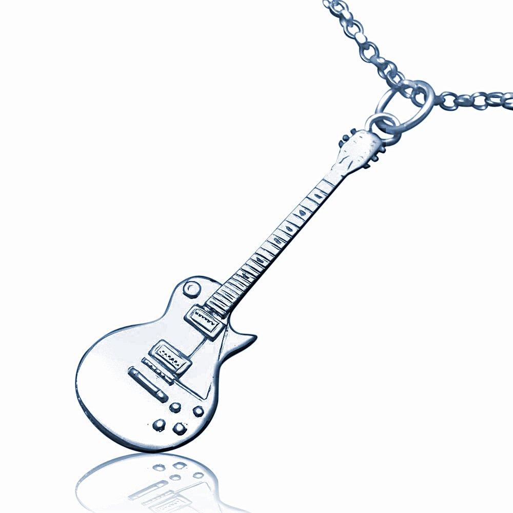 Plata de ley de réplica de la guitarra eléctrica Gibson Les Paul - collar grande: jewellery-joia: Amazon.es: Joyería