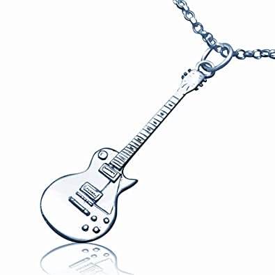 a606f2384 Solid Sterling Silver Mini Gibson Les Paul Electric Guitar Necklace - 18  inch: jewellery-joia: Amazon.co.uk: Jewellery