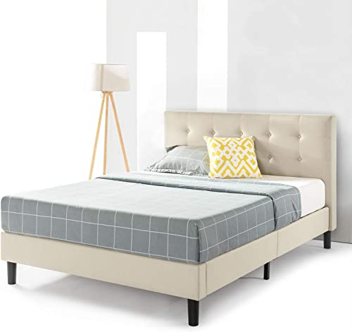 Best Price Mattress Queen Bed Frame – Liz Upholstered Platform Beds with Tufted Headboard and Wooden Slats Support No Box Spring Needed , Queen Size