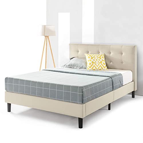 Best Price Mattress King Bed Frame – Liz Upholstered Platform Beds with Tufted Headboard and Wooden Slats Support No Box Spring Needed , King Size