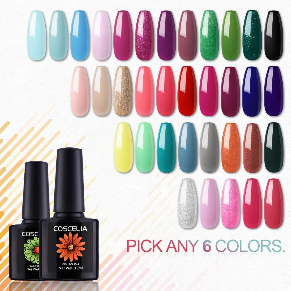 Coscelia Soak Off UV Gel Nail Polish Starter Kit 10ml Pick Any 6 Colors by COSCELIA