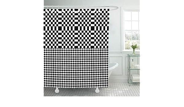 Cortina de baño Bauhaus Negro Blanco Cuadrados y Rombos Óptico Alternancia Paralelo Impermeable Conjunto de Tela de poliéster con Ganchos: Amazon.es: Hogar