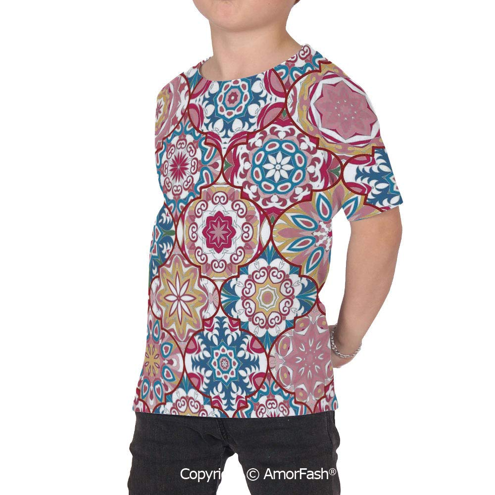 PUTIEN Moroccan All Over Print T-Shirt,95/% Polyester,Childrens Short Sleeve T-ShirtEth