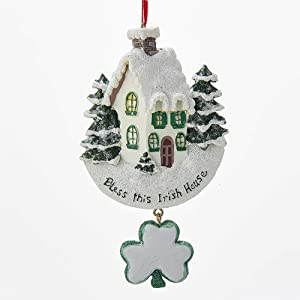 "Kurt Adler ""bless This Irish House"" With Dangle Shamrock Ornament"