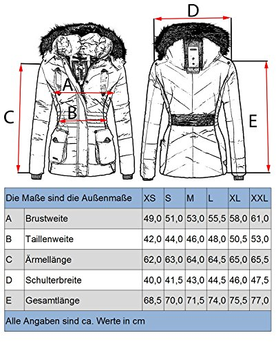 Guateada de XXL para XS 11 Negro Chaqueta Mujer Vanilla Marikoo Colores Invierno vqX4Enx