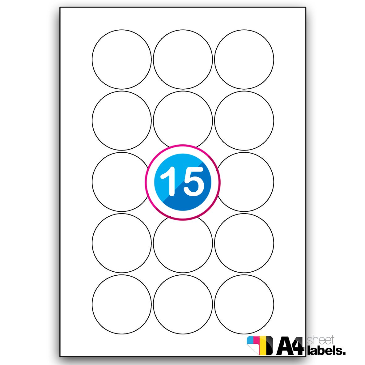 Multiusos en blanco de bordes redondeados etiquetas para archivadores de - adhesivo 15 hojas para libro de 63 hoja de - etiquetas 50 mm Diámetro del: ...
