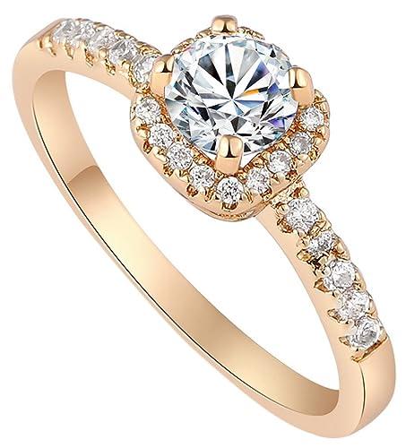 Y Boa Bague Solitaire Femme Or Fiancailles Alliance Mariage Bijoux Intemporel Anneau Cadeau