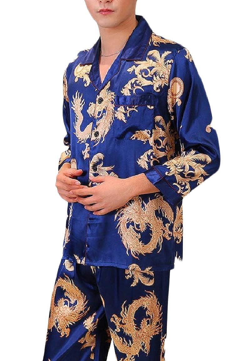 NestYu Men Lapel Button Charmeuse Long Sleeve Floral Pajama Sleepwear Set