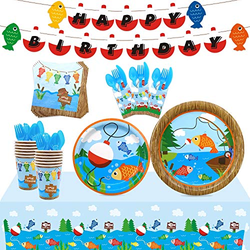 Gone Fishing Party Tableware Supplies Set Serves 20 Guests-Bobber Happy Birthday Banner,Plates, Cups, Napkins,Table Cover,Cutlery Kits-Kids Little Fisherman The Big One Party Ideas Decoration