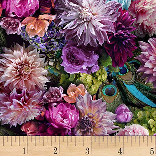 Hoffman Fabrics Digital Proud As A Peacock Floral Dahlia Fabric Fabric by the Yard