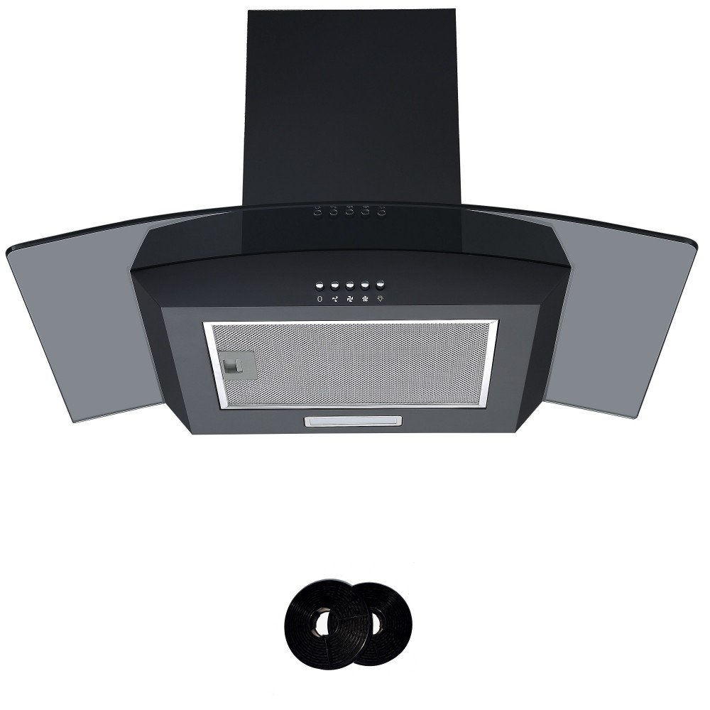 Black Cookology CGL700BK 70cm Smoked Curved Glass Chimney Cooker Hood & Filters