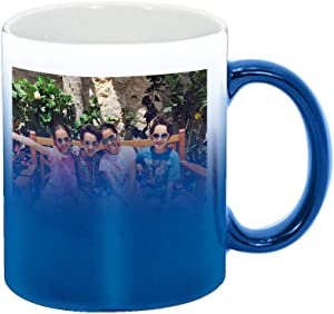 Personalized Add Your Custom Text and Photo White Ceramic 11 Oz Coffee Mug Customizable Gift For Him, For Her, For Boys, For Girls, For Husband, For Wife, For Men, For Women (Blue Color Changing)