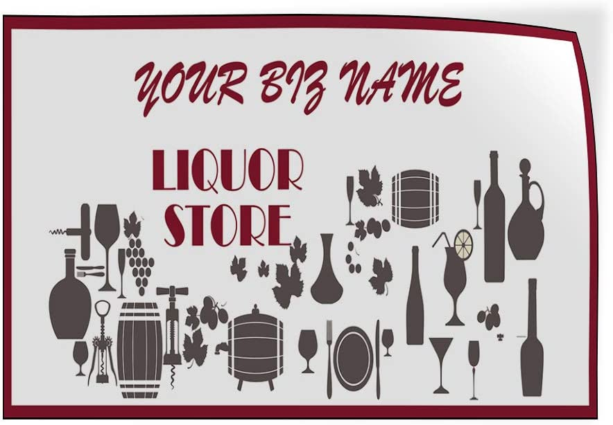 Custom Door Decals Vinyl Stickers Multiple Sizes Business Name Liquor Store Business Liquor Store Outdoor Luggage /& Bumper Stickers for Cars Red 45X30Inches Set of 5