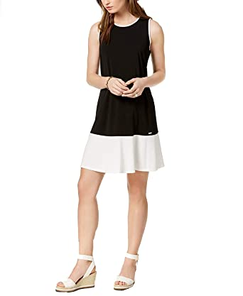 b92c430771f5 Tommy Hilfiger Colorblocked Women s Shift Dress Black 8 at Amazon ...