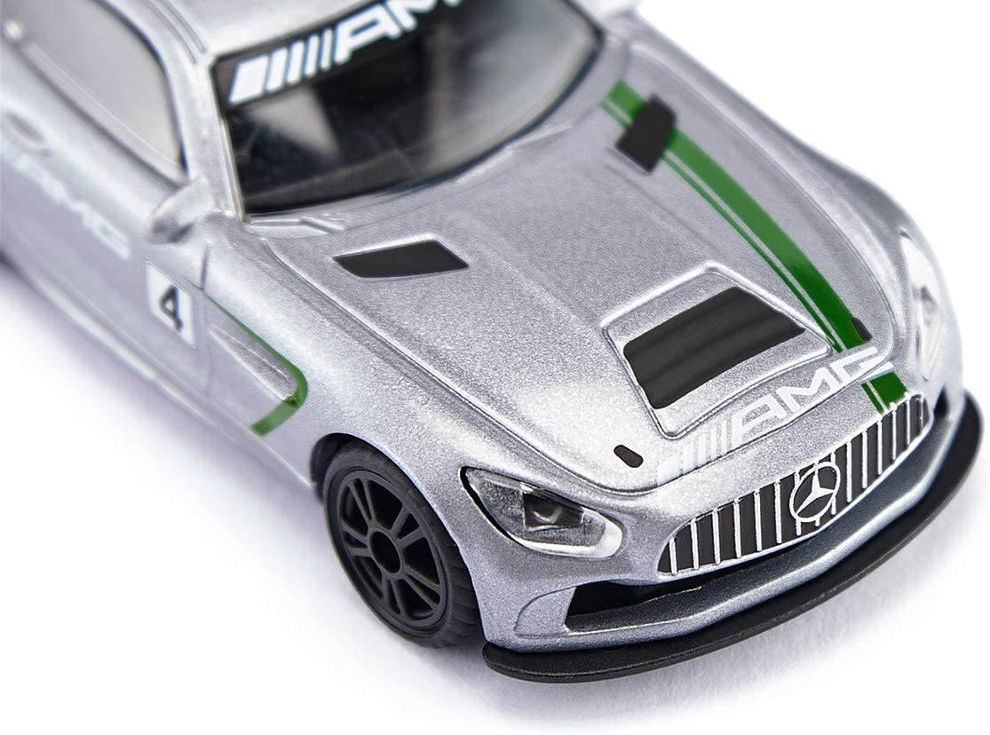Gro/ßer Heckfl/ügel Mercedes-AMG GT4 Sportwagen Spielzeugauto f/ür Kinder Silber Siku 1529 Metall//Kunststoff