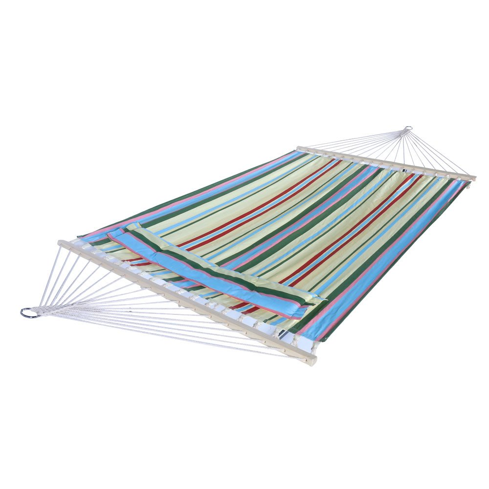 Lovinland Hanging Hammock Stylish Printing Style Hammock Beach Swing Double Beds for Outdoor Camping Travel Beige