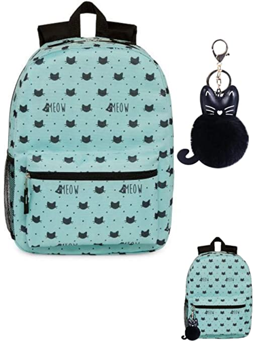 Cats Meow Backpack Canvas Lightweight With Kitty Pom Pom Keychain Charm