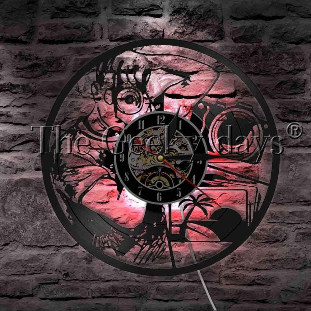 Cámara de fotos luz de pared decorativa disco de vinilo reloj de pared lente fotógrafo sesión de fotos LED luz colgante: Amazon.es: Iluminación