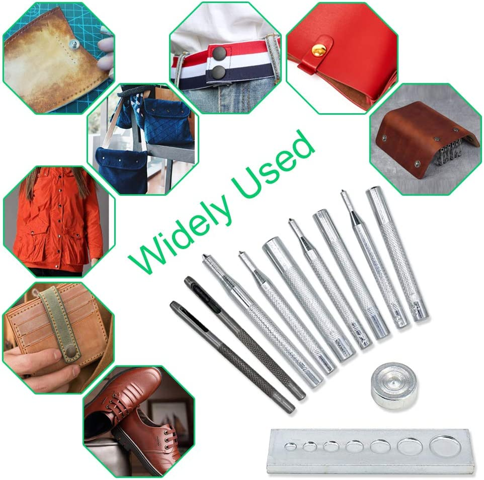 Renashed 11 Pcs Heavy Duty Hollow Leather Craft Punch Hole Tool Kit with Base DIY Leathercraft Tool Leather Rivet Setter Leather Puch Tool,Punch Snap Kit for Hole Punch and Install Rivet Button