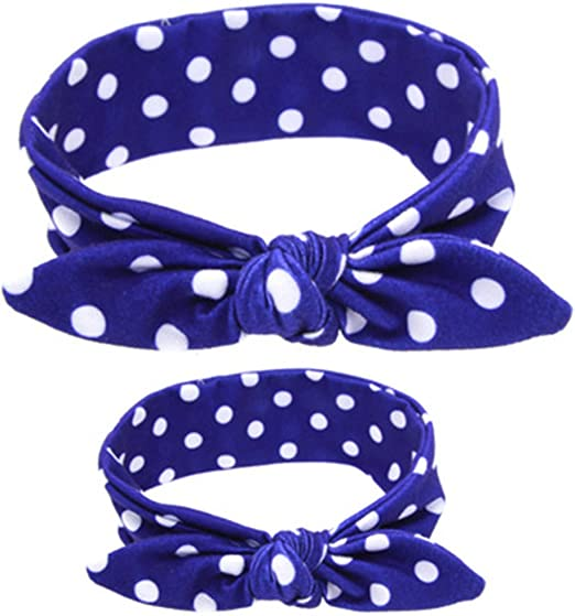 2Pcs Mom Baby Rabbit Ears Bow Tie Stretch Knot Cotton Headbands Hair Accessories