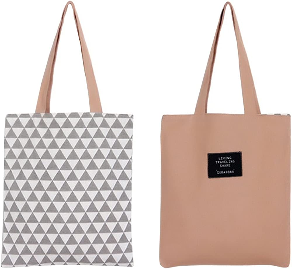 Oath/_song Womens Graphic Pattern Handmade Reversible Canvas Tote Bag