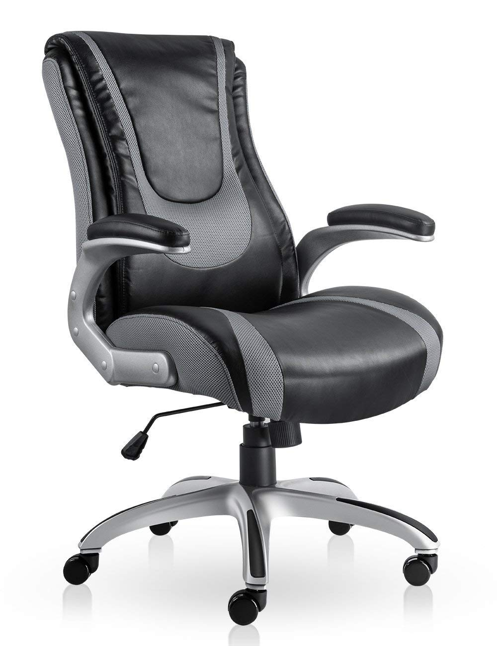 High Back Executive Office Chair Ergonomic Home Office Chair Managerial Bonded Leather Chair Thick Cushion Support (Black+Gray) by SmugOffice