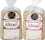 amish popcorn hulless - Amish Country Popcorn - 2 (2 lb. Bags Variety Gift Set) with Recipe Guide - Medium White and Extra Large Caramel Type Old Fashioned Popcorn - Non GMO, and Gluten Free - 1 Year Freshness Guarantee