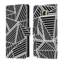 Official Project M Black Silver Abstract Lines Two Tone Leather Book Wallet Case Cover For Samsung Galaxy Note5 / Note 5