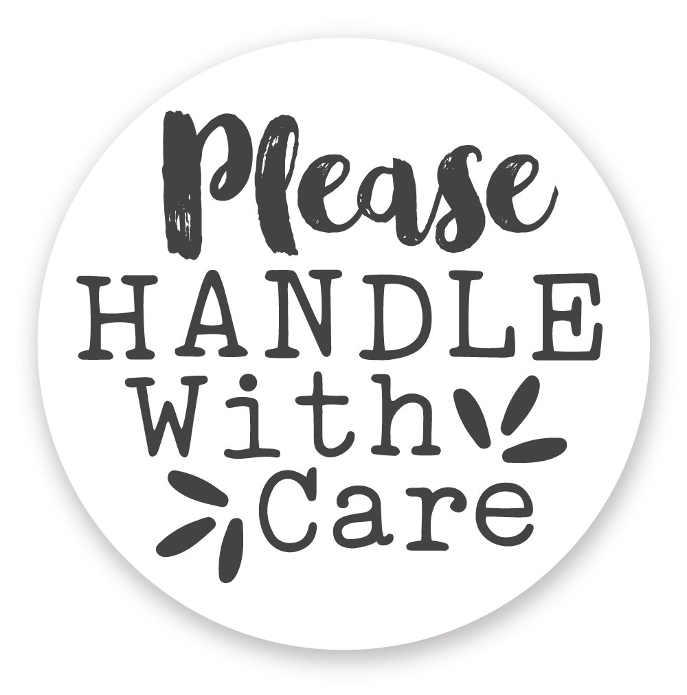 Handle with Care Stickers (120 Count) - Cute Package Labels - 1.5''